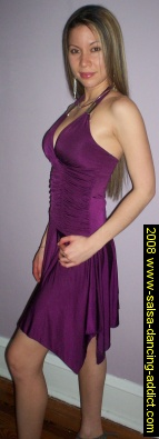 Millie with Purple Gathered Bodice Salsa Dress from EK Clothing