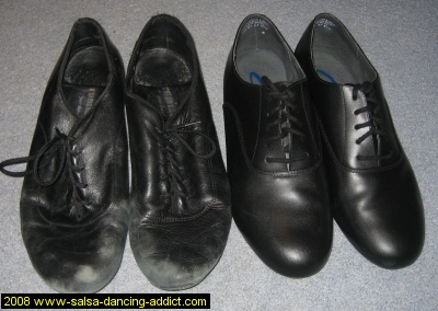Compare old salsa shoes and new salsa shoes